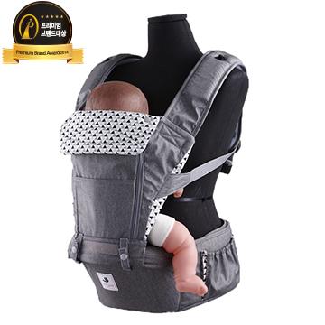 【本月特價$4180】【Pognae】 No.5超輕量機能坐墊型背巾-東京灰