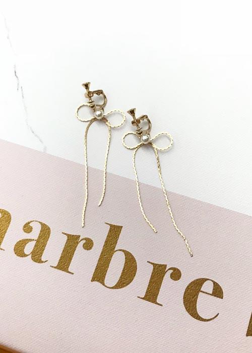 韓國飾品,金色耳環,蝴蝶結造型耳環,珍珠耳環,夾式耳環