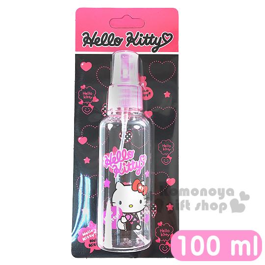 〔小禮堂〕Hello Kitty 噴霧式空瓶《透明.粉.坐姿.拿愛心.吊帶褲.100ml》可自由補裝內容物