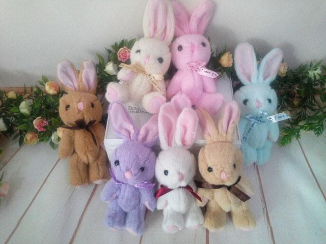 ~*My 71*~ 絨毛娃娃 3.5吋關節兔(立耳) 18cm左右 動物 系列 玩偶 兒童 玩具 情人 禮物 吊飾