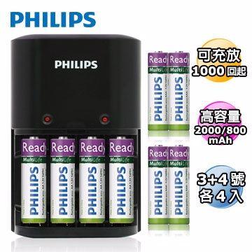 PHILIPS 飛利浦 經濟型鎳氫電池充電器 + 3號 + 4號(各4入)低自放充電電池 [天天3C]