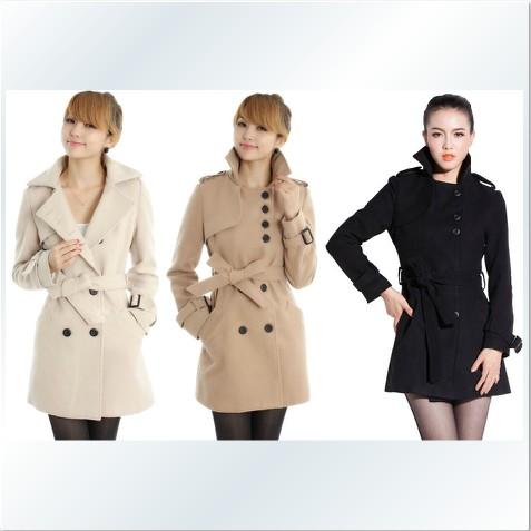 外套【心齋橋】韓版新款合身雙排扣中長款羊毛大衣外套FAN1108(現+預)