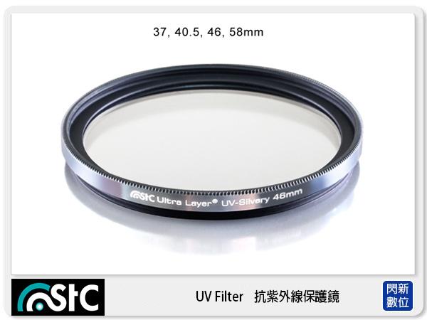 【分期0利率,免運費】送鏡頭蓋防丟夾 STC 雙面長效防潑水膜 鋁框 抗UV 保護鏡 銀框 58mm(58,公司貨)