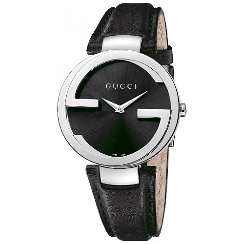 【GUCCI Interlocking】時尚雙G造型腕錶(黑面黑皮/37mm/YA133301)