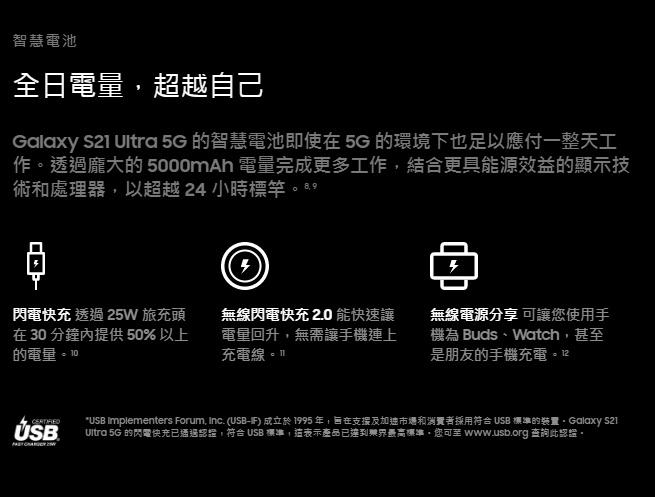 Galaxy S21 Ultra 5G 的智慧電池即使在 5G 的環境下也足以應付一整天工作。透過龐大的 5000mAh 電量完成更多工作,結合更具能源效益的顯示技術和處理器,以超越 24 小時標竿。