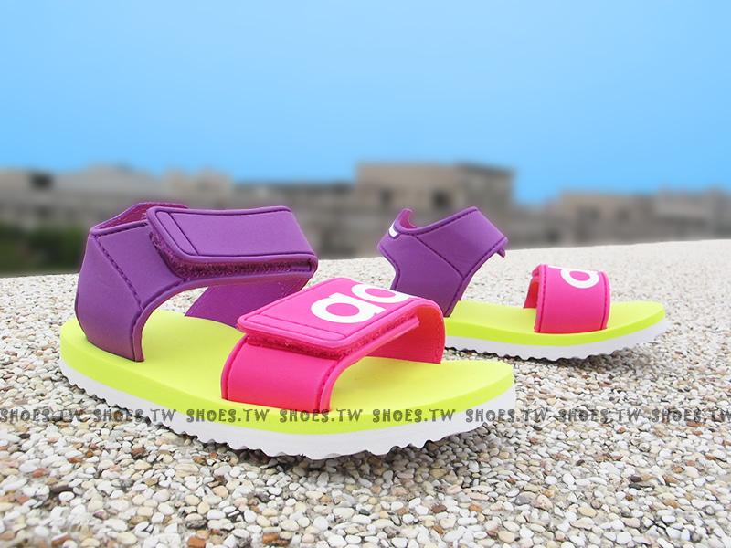 Shoestw【S76627】ADIDAS 童鞋 涼鞋 小童 雙黏帶 海灘拖 紫黃桃