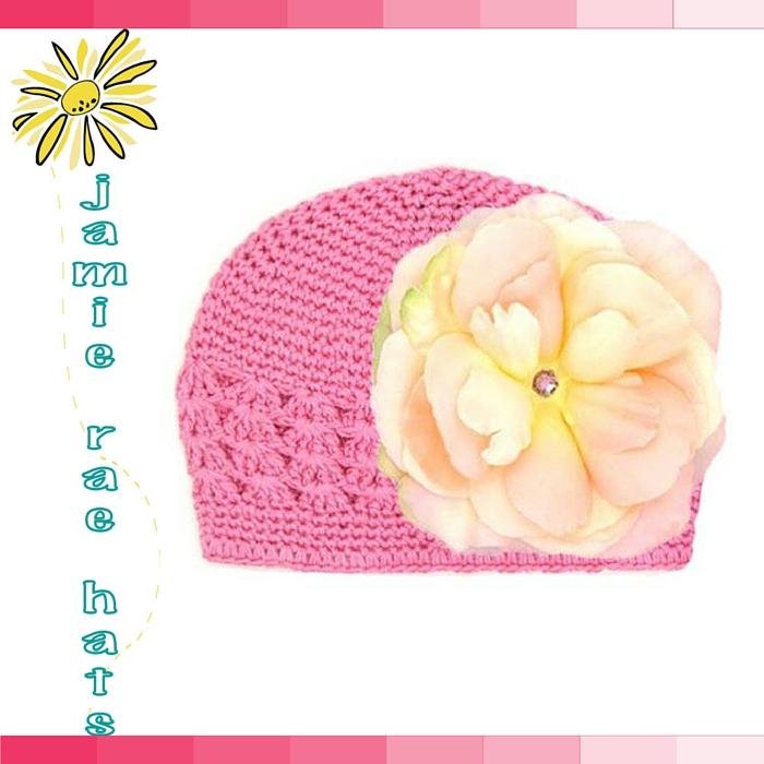 ★啦啦看世界★ Jamie Rae Hats 粉玫瑰糖果針織帽/ 嬰兒帽 出生禮 彌月禮 小孩帽 兒童帽
