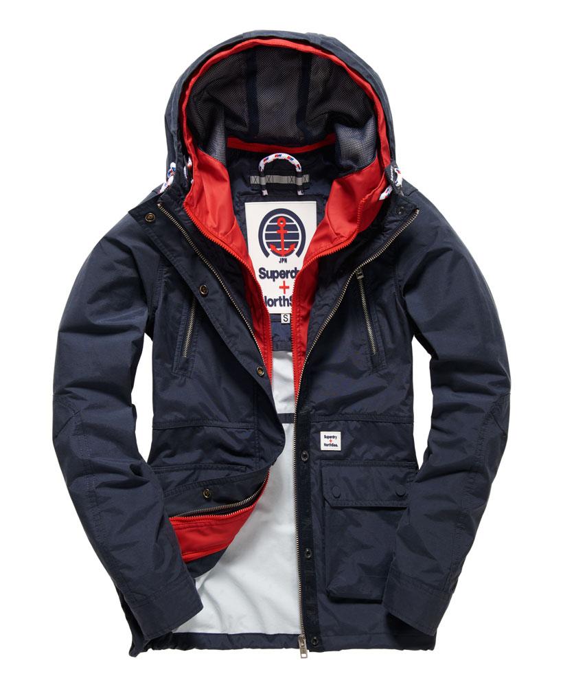 [女款]Outlet英國代購極度乾燥 Superdry Fathom 女款 風衣連帽防風防水外套 海軍藍/紅色