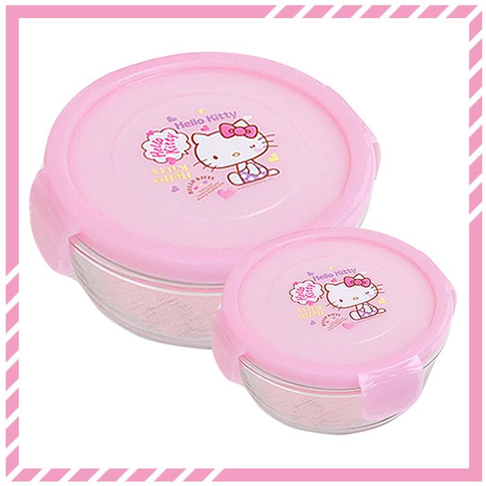 大田倉 韓國進口正版 Sanrio 三麗鷗 凱蒂貓 HELLOKITTY 玻璃樂扣圓型保鮮盒 便當盒 2款