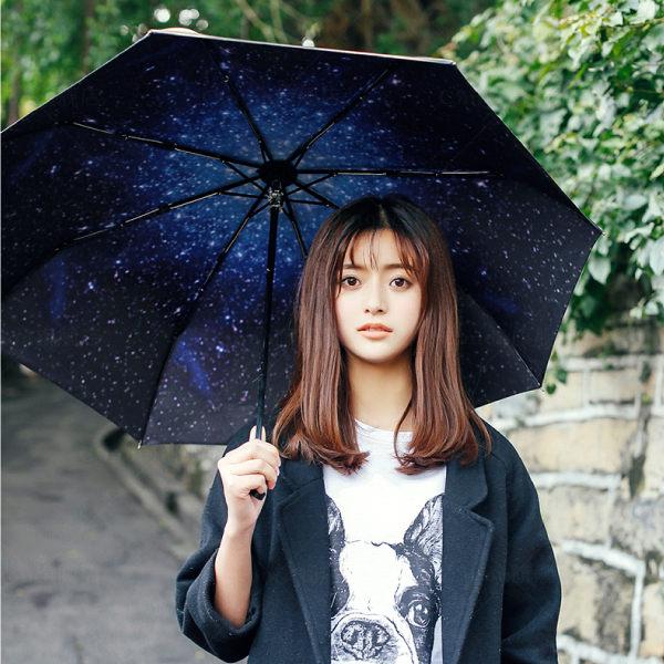 PS Mall 超防曬三折星空傘 防紫外線太陽傘 晴雨傘 遮陽 防曬【J2420】
