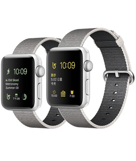 【鐵樂瘋3C 】(展翔) ● Apple Watch 【錶殼42mm、38mm】【Series 2】銀色鋁金屬錶殼搭配珍珠色尼龍織紋錶帶