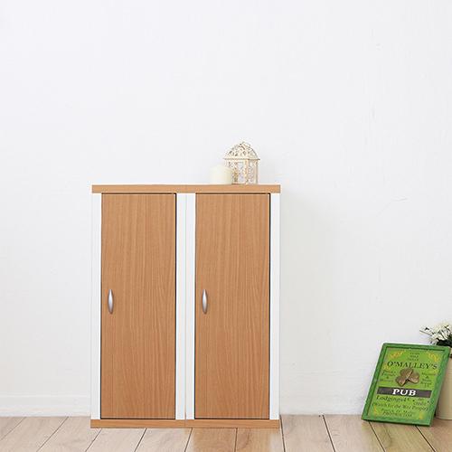 兩入一組《Accessco》日系雙色六格附門厚板收納書櫃〔原木白〕