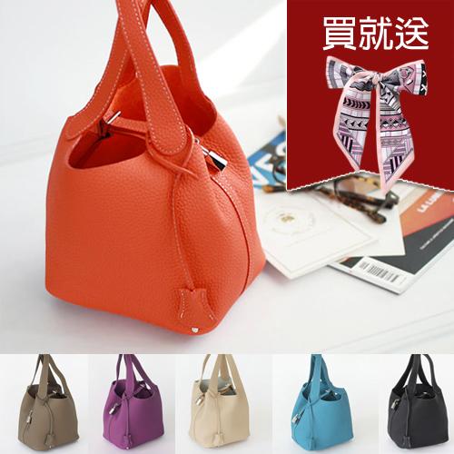 全真皮鎖頭包(小款) D&M 荔枝紋牛皮水桶包購物袋手提包picotin 全5色【B11078】