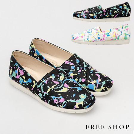 Free Shop【QSH0320】日韓系街頭潮流潑漆造型塗鴉皮質休閒鞋懶人鞋‧二色(N22) MIT台灣製