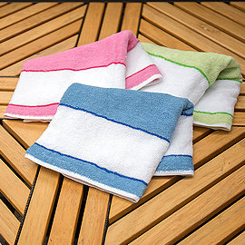 【LIFE來福牌-HJ0414】平織彩條色紗 毛巾1入