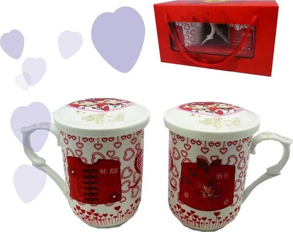☆︵興雲網購︵☆【01200】新郎新娘蓋杯2入 結婚杯 碗組 飯碗 陶瓷碗 結婚禮物禮品