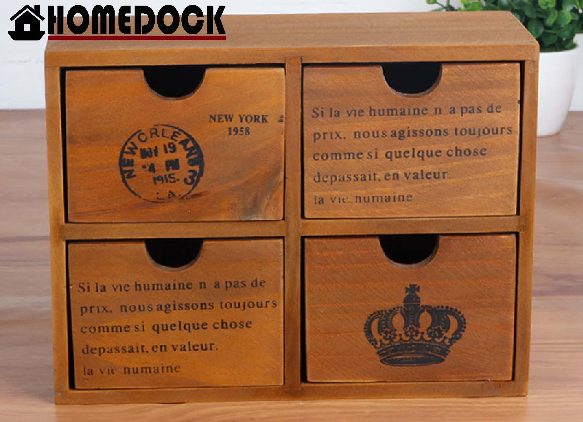 HOMEDOCK-原木質感四格抽屜收納櫃 四層/四格/木櫃/置物櫃/原木製/層格櫃/抽屜/Zakka/木盒
