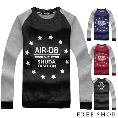 Free Shop【QR73970】美式休閒AIR-D8星星印花保暖厚棉刷毛圓領長袖上衣長T‧三色 MIT台灣製