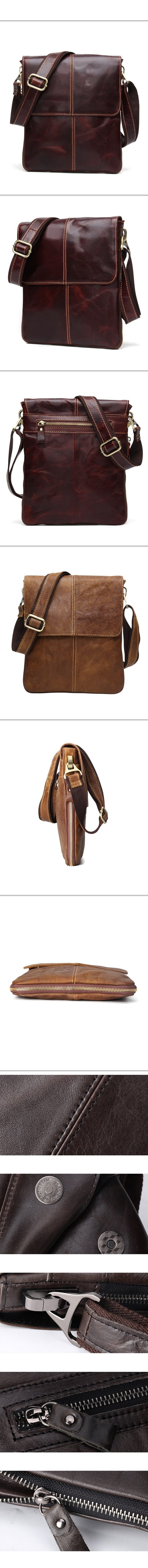 肩背包 瘋馬皮-歐美復古個性休閒男側背包