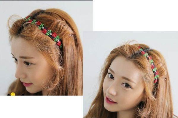 ★草魚妹★H225髮帶民族風森林系手工玫瑰花刺繡髮帶髮箍髮圈,售價100元