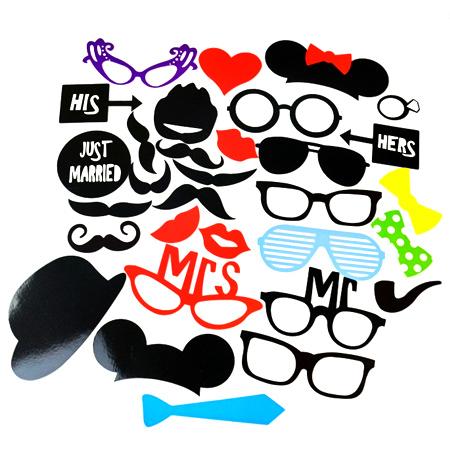 創意婚禮派對拍照道具 31件套組 DIY 眼鏡 紅唇 帽子 鬍子 面具 生日 新婚 趣味 變裝 party【N201305】