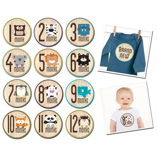 ★衛立兒生活館★美國Sticky Bellies 寶寶月份貼紙1-12M(動物派對)