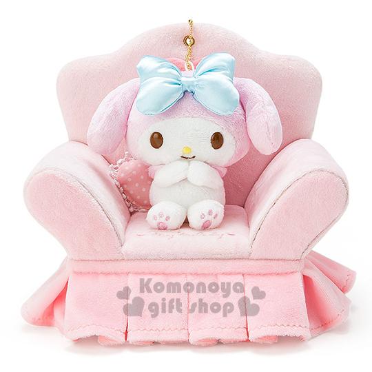 〔小禮堂〕美樂蒂 沙發造型絨毛飾品盒《粉.坐姿.愛心》附娃娃吊飾