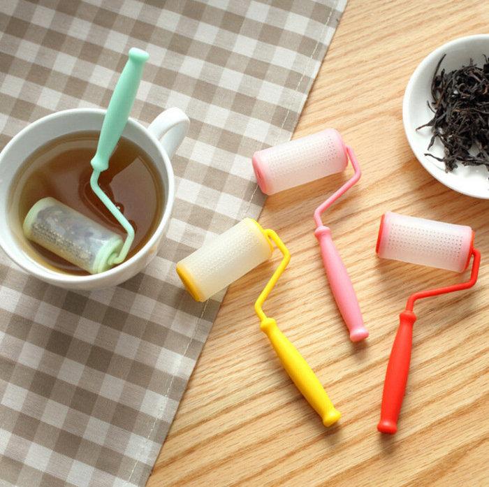 =優生活=創意食品級油漆刷滾輪造型泡茶器 茶葉 泡茶 矽膠泡茶器 交換禮物