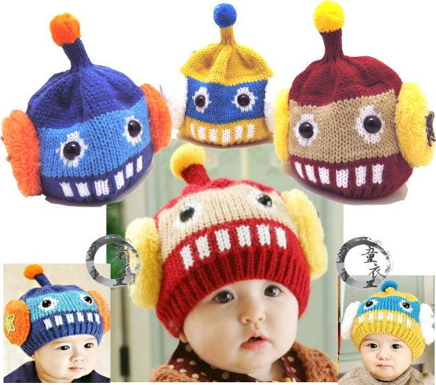 童衣圓【R025】R25外星寶寶帽 保暖 天線 機器人 造型 毛線帽 秋冬可愛款 適合頭圍32-54