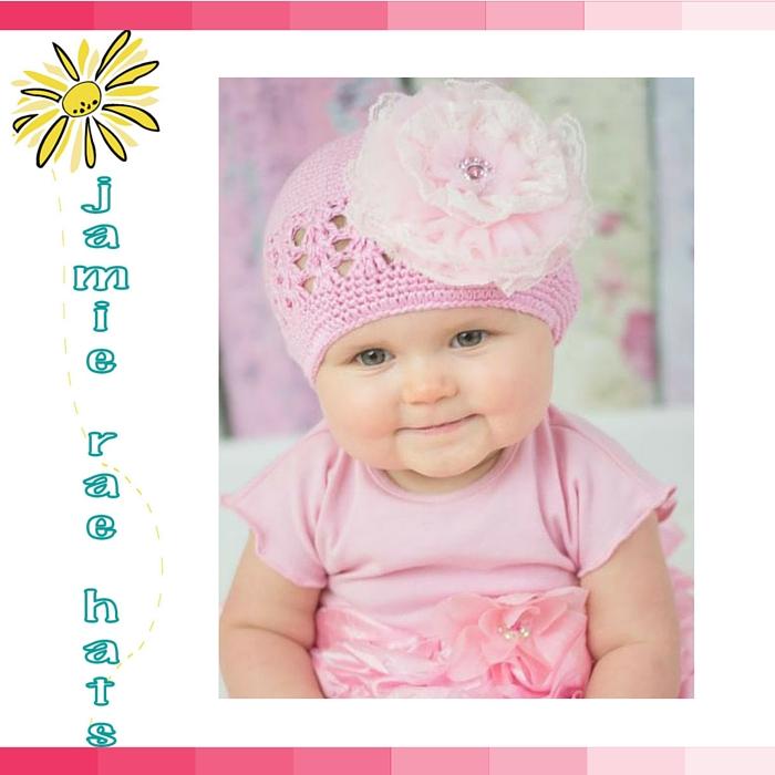 ★啦啦看世界★ Jamie Rae Hats 粉蕾絲糖果針織帽/ 嬰兒帽 出生禮 彌月禮 小孩帽 兒童帽 棉帽