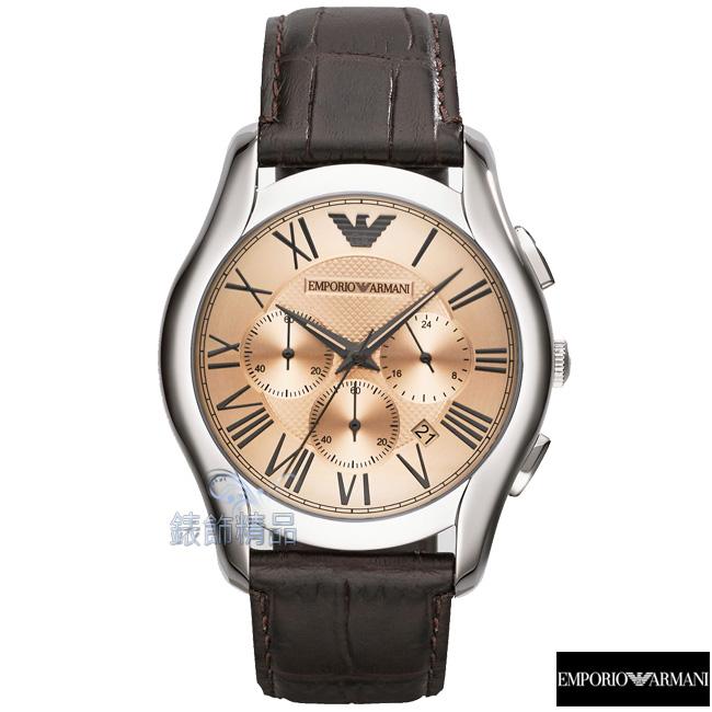 【錶飾精品】ARMANI手錶 亞曼尼表 計時 日期 香檳面咖啡皮帶男錶 AR1785全新原廠正品 禮物