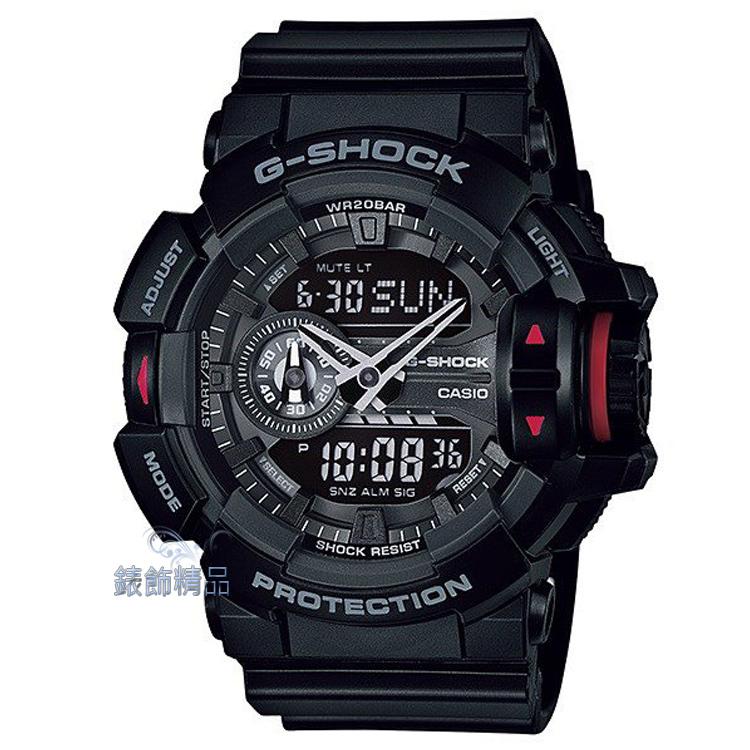 【錶飾精品】現貨CASIO卡西歐G-SHOCK大型錶冠設計GA-400-1BDR黑X紅多層次錶盤GA-400-1B 全新原廠正品 生日 情人節 禮物 禮品