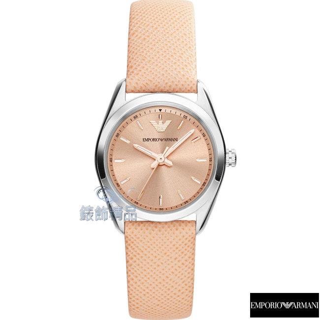 【錶飾精品】ARMANI手錶 亞曼尼 優雅淑女腕錶 粉橘面 粉橘皮帶女錶AR6032全新原廠正品 禮物