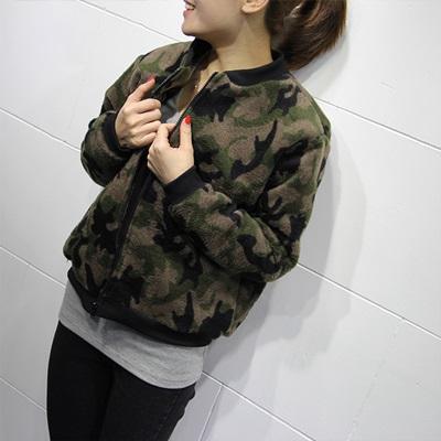 棒球外套 短款夾克-休閒秋冬迷彩仿毛呢拉鏈女外套2色72aq1【獨家進口】【米蘭精品】