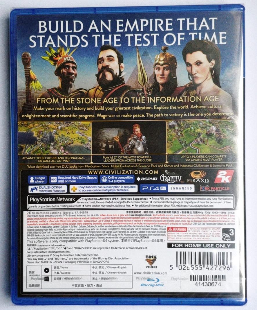 PS4遊戲 文明帝國6 文明6 civilization 6 中文