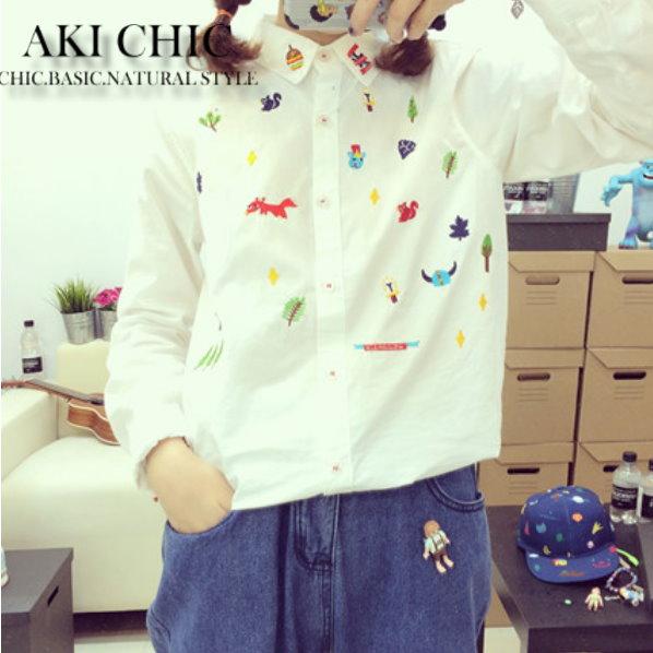 AKI CHIC【c090】日系童趣可愛動物萌款立領長袖襯衫