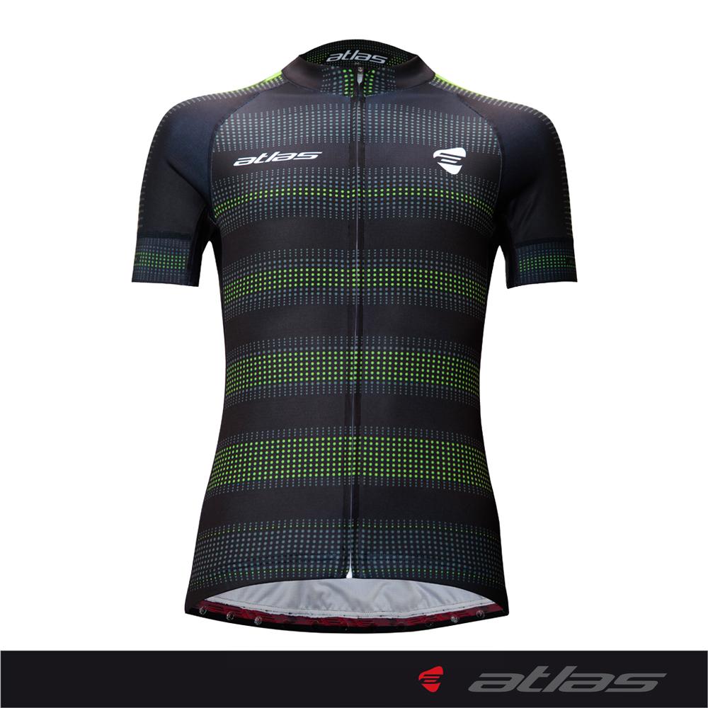 Atlas 亞特力士 Italy設計短袖車衣-舒適版 HJ-1214(點陣黑/綠) 24℃~30℃