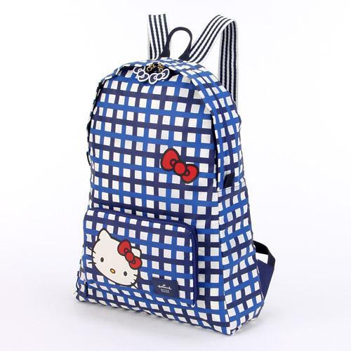 【真愛日本】16022300004 聯名Hallmark可收納後背包-藍格 三麗鷗Hello Kitty凱蒂貓 後背包 書包