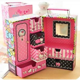 衣櫃式hellokitty收納盒首飾盒化妝盒內配鏡子-7201007