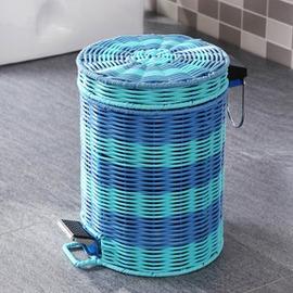 3L青藍膠藤編織歐式垃圾桶 腳踏垃圾筒可愛客廳衛生間垃圾桶-6001004