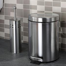 不鏽鋼廁所垃圾桶腳踏5L+ 馬桶刷套裝 時尚創意衛生間通馬桶家用廚房-6001004