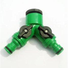 【三通-帶閥-4分】微噴滴灌配件 4分三通 帶閥三通 二路分水器 洗衣機水龍頭接頭,2個/組-5101003