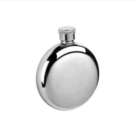 男人旅遊隨身可?式高檔不銹鋼光面禮品小圓酒壺-7601001