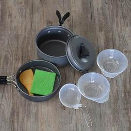 【戶外野營套鍋-SR5009-1-2人-鋁合金-1套/組】戶外炊具組合套鍋便攜式不粘鍋戶外鍋具(煮鍋*1+煎鍋*1+飯碟*2+湯勺飯勺*1)-76007