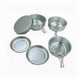 【CA6件套組合餐具-93020-鋁合金-6件/套-1套/組】超輕情侶套碗 套鍋迷你組合餐具 碗碟 折疊碗(大中小碗*1+大中小碟*1)-76012