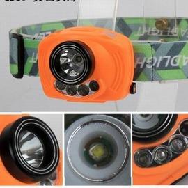 【感應雙開關強光頭燈-電池款-R2主燈+紅光LED*2-1套/組】大功率頭燈帶警示燈 雙光源可調角度頭燈 使用3節電池(不含電池)-76012