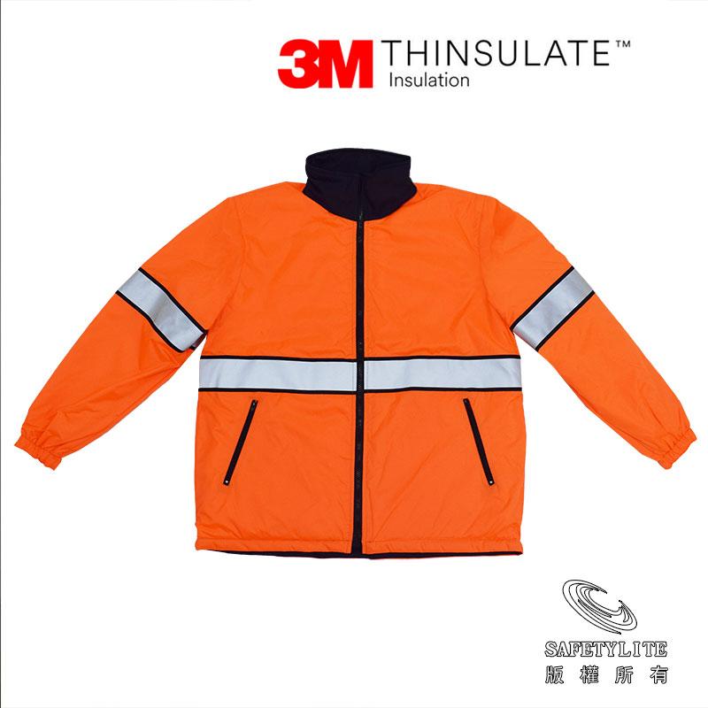 【safetylite安心生活館】《免運+贈禮》亮橘黑雙層鋪棉保溫防水正反穿機能外套~超保暖3M Thinsulate