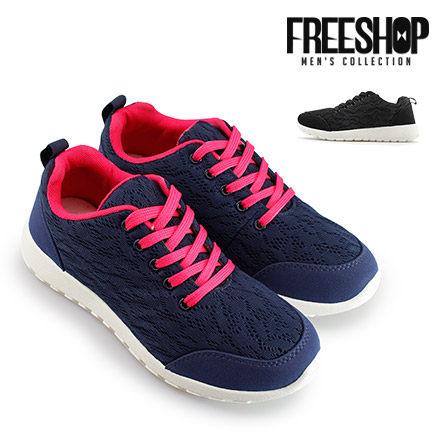慢跑鞋 Free Shop【QSH0593】精選蕾絲網面舒適低筒綁帶慢跑運動休閒鞋 二色 (S119) MIT台灣製