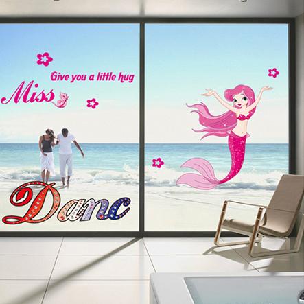 小美人魚 迪士尼 無痕設計壁貼 防水 不傷牆面 兒童房裝飾 展覽 布置 飾品 動畫 背景貼