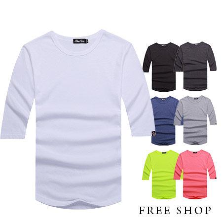 Free Shop【QR05095】美式休閒百搭基本款素面圓領棉質七分袖長版短袖上衣‧七色 MIT台灣製